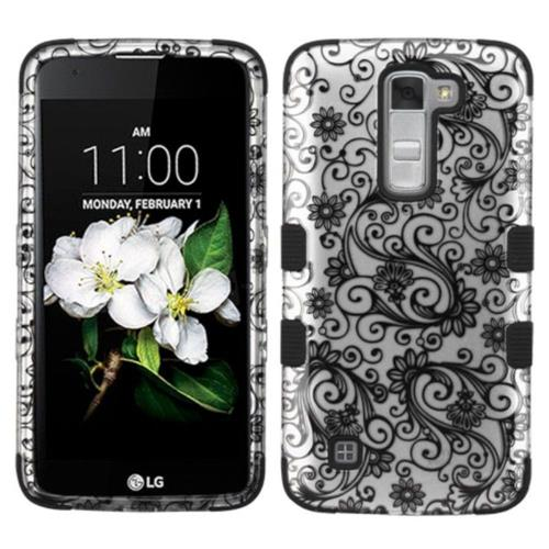 Insten Four-leaf Clover Hard Hybrid Rubberized Silicone Cover Case For LG K7 Tribute 5, Black/White