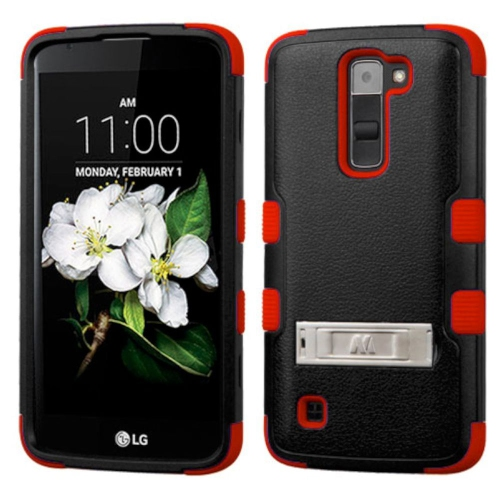 Insten Hard Dual Layer Rubberized Silicone Cover Case w/stand For LG K7 Tribute 5 - Black/Red