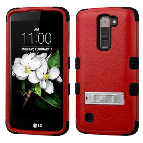 Insten Hard Hybrid Rubber Silicone Case w/stand For LG K7 Tribute 5 - Red/Black