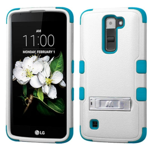 Insten Hard Hybrid Rubber Coated Silicone Cover Case w/stand For LG K7 Tribute 5 - White/Blue