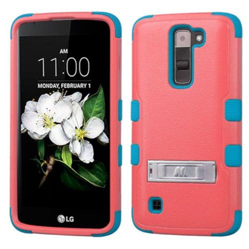 Insten Hard Hybrid Rubber Silicone Cover Case w/stand For LG K7 Tribute 5 - Red/Blue