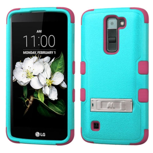 Insten Hard Dual Layer Rubber Silicone Cover Case w/stand For LG K7 Tribute 5 - Teal/Pink