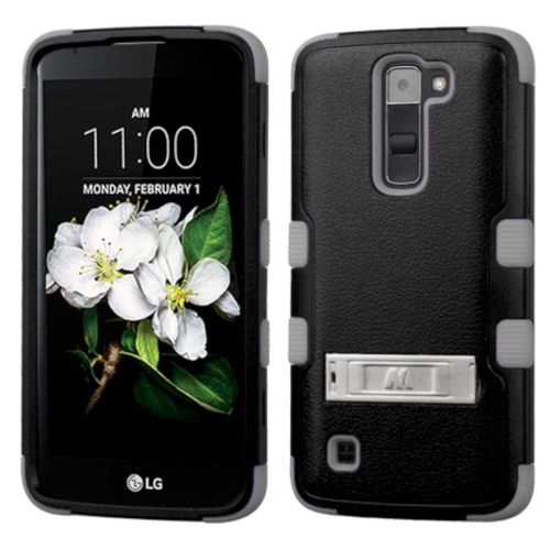 Insten Hard Dual Layer Rubber Coated Silicone Case w/stand For LG K7 Tribute 5 - Black/Gray