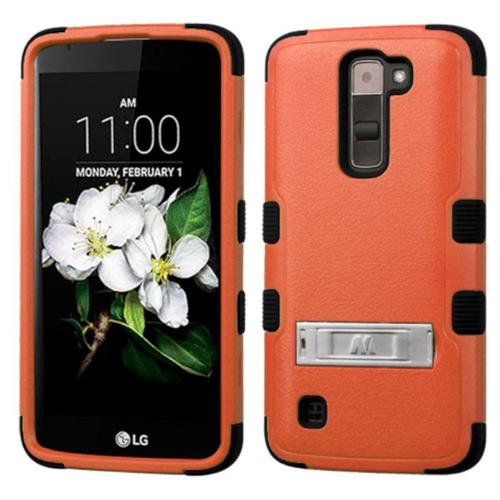 Insten Hard Dual Layer Rubber Silicone Cover Case w/stand For LG K7 Tribute 5 - Orange/Black