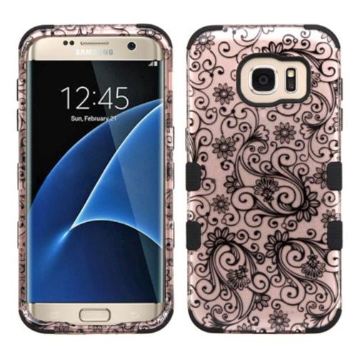 Insten Four-leaf Clover Hard Silicone Cover Case For Samsung Galaxy S7 Edge, Rose Gold/Black