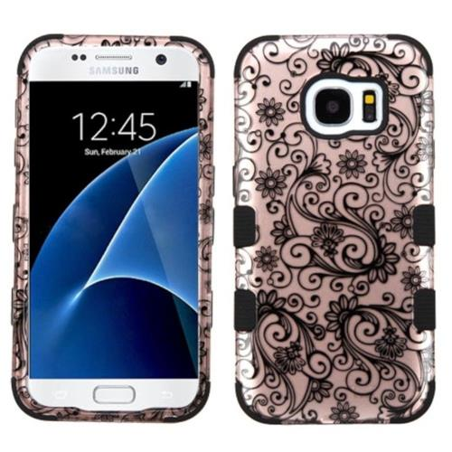 Insten Tuff Four-leaf Clover Hard Dual Layer Silicone Case For Samsung Galaxy S7 - Rose Gold/Black