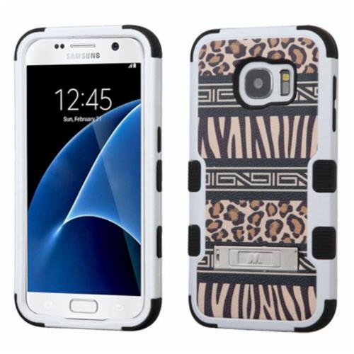 Insten Tuff Zebra Hard Hybrid Rubber Silicone Case w/stand For Samsung Galaxy S7 - Brown/Black