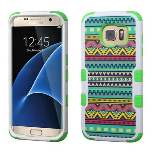 Insten Tuff Tribal Sun Hard Hybrid Rubber Silicone Case For Samsung Galaxy S7 Edge - Green