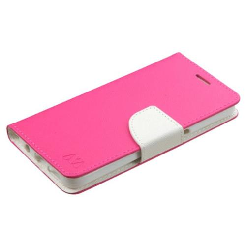 Insten Book-Style Leather Fabric Case For Samsung Galaxy S7 - Hot Pink/White