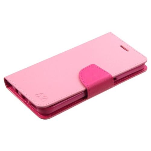 Insten Folio Leather Fabric Case For Samsung Galaxy S7 - Pink