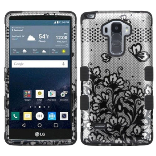 Insten Lace Flowers Hard Hybrid Rubber Silicone Cover Case For LG G Stylo LS770/G Vista 2, Black
