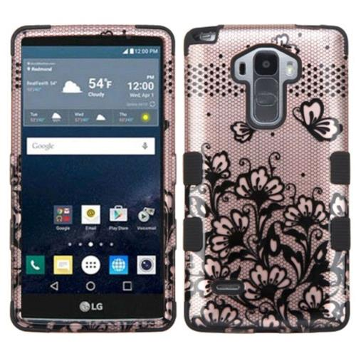 Insten Lace Flowers Hard Rubberized Silicone Case For LG G Stylo LS770/G Vista 2, Rose Gold/Black