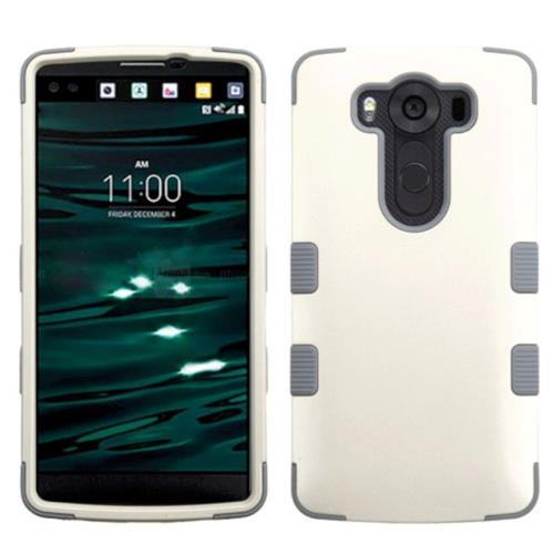 Insten Tuff Hard Dual Layer Silicone Cover Case For LG V10 - White/Gray