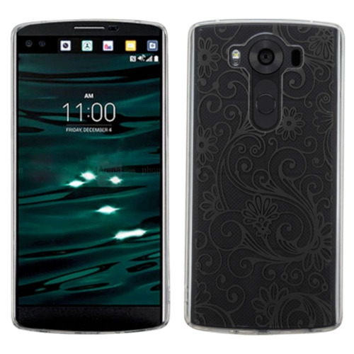 Insten Four-leaf Clover Gel Case For LG V10 - Clear/Black