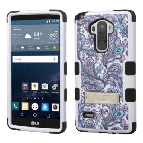 Insten European Flowers Hard Rubber Coated Silicone Case w/stand For LG G Stylo LS770, Purple/White