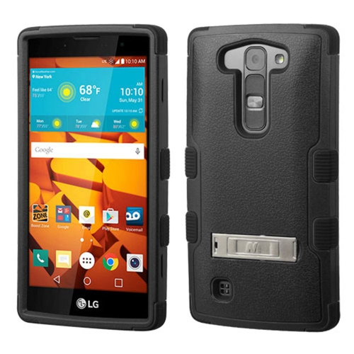 Insten Hard Dual Layer Rubber Coated Silicone Cover Case w/stand For LG Magna/Volt 2 - Black