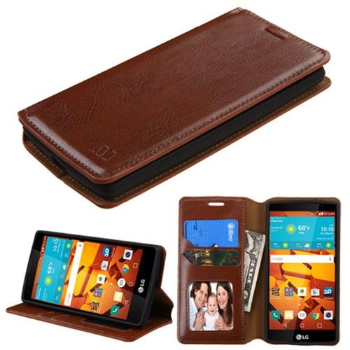Insten Flip Leather Fabric Case w/stand/card holder/Photo Display For LG Magna/Volt 2 - Brown