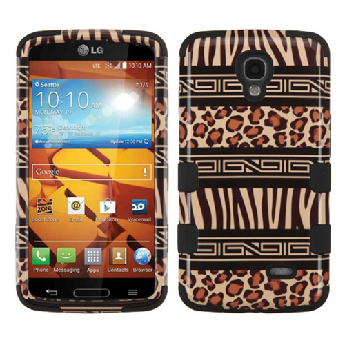 Insten Zebra Hard Dual Layer Rubber Coated Silicone Case For LG Volt - Brown/Black