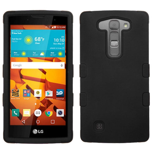 Insten Tuff Hard Dual Layer Rubber Silicone Cover Case For LG Magna/Volt 2 - Black