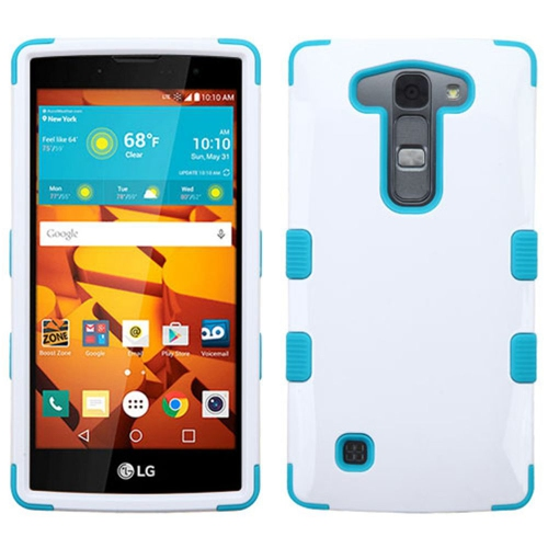 Insten Tuff Hard Hybrid Rubber Coated Silicone Cover Case For LG Magna/Volt 2 - White/Blue