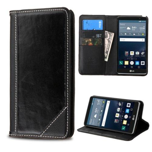Insten Folio Leather Fabric Cover Case w/stand/card holder For LG G Stylo LS770 - Black