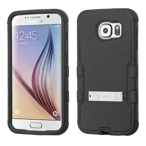 Insten Hard Dual Layer Rubberized Silicone Case w/stand For Samsung Galaxy S6 - Black