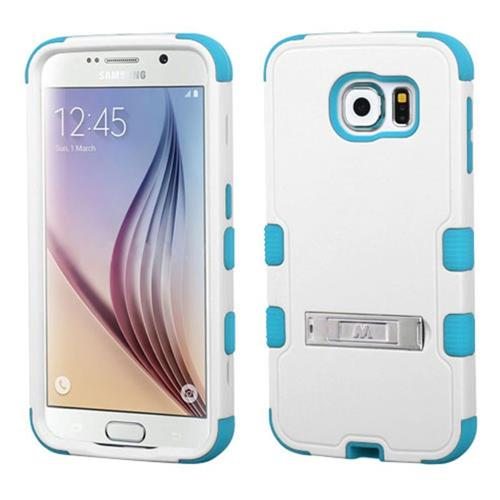 Insten Hard Dual Layer Silicone Cover Case w/stand For Samsung Galaxy S6 - White/Blue