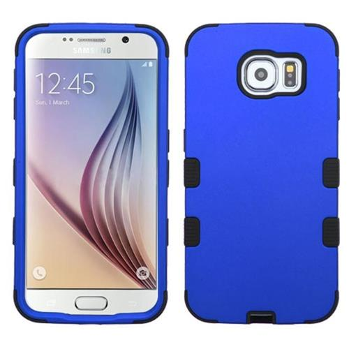 Insten Tuff Hard Hybrid Rubberized Silicone Cover Case For Samsung Galaxy S6 - Blue/Black