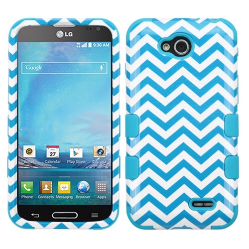 Insten Wave Hard Dual Layer Rubber Silicone Case For LG Optimus L90 - White/Blue