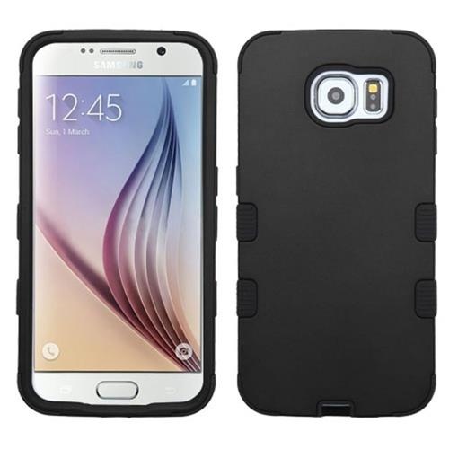 Insten Tuff Hard Hybrid Rubberized Silicone Cover Case For Samsung Galaxy S6 - Black