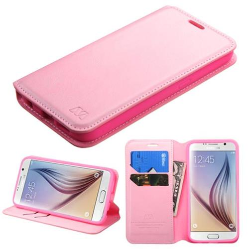 Insten Flip Leather Fabric Cover Case w/stand/card holder For Samsung Galaxy S6 - Pink
