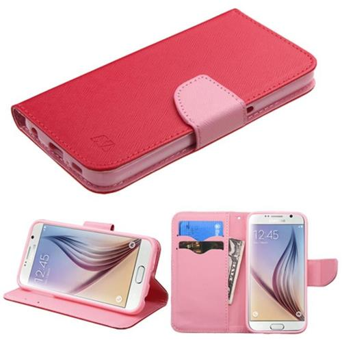 Insten Folio Leather Fabric Case w/stand/card holder For Samsung Galaxy S6 - Red/Pink