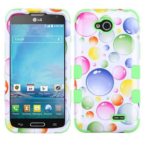 Insten Rainbow Bubbles Hard Rubberized Silicone Cover Case For LG Optimus L90, White/Green