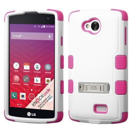 Insten Hard Dual Layer Silicone Cover Case w/stand For LG Optimus F60 - White/Hot Pink