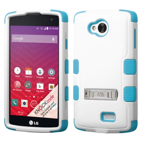 Insten Hard Hybrid Rubber Coated Silicone Case w/stand For LG Optimus F60 - White/Blue