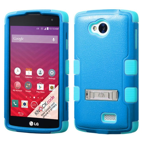 Insten Hard Hybrid Rubber Coated Silicone Case w/stand For LG Optimus F60 - Blue