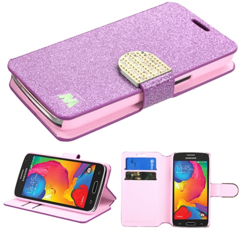 Insten Flip Leather Glitter Case w/stand/card holder/Diamond For Samsung Galaxy Avant - Purple/Gold