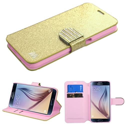 Insten Flip Leather Glitter Cover Case w/stand/card holder/Diamond For Samsung Galaxy S6 - Gold