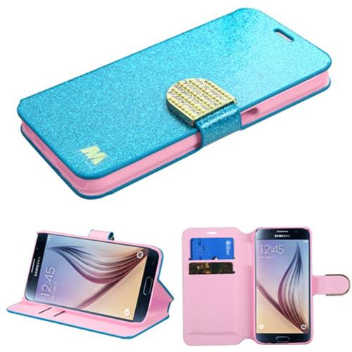 Insten Folio Leather Glitter Cover Case w/stand/card slot/Diamond For Samsung Galaxy S6 - Blue/Gold