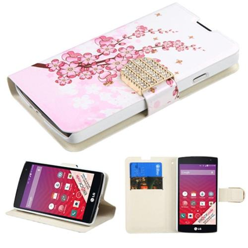 Insten Book-Style Leather Fabric Cover Case w/stand/card slot/Diamond For LG Optimus F60, Pink/White