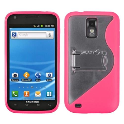 Insten S Shape TPU Cover Case w/stand For Samsung Galaxy S2 Hercules T989 - Clear/Pink