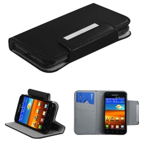 Insten Leather Cover Case w/stand/card holder For Samsung Galaxy S2 Epic 4G Touch D710, Black