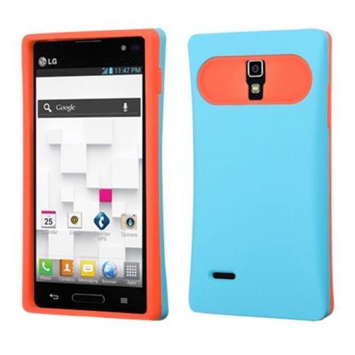 Insten TPU Silicone Cover Case w/card slot For LG Optimus L9 P769 - Light Blue/Orange