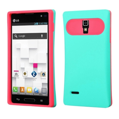 Insten Gel Silicone Case w/card holder For LG Optimus L9 P769 - Turquoise/Hot Pink