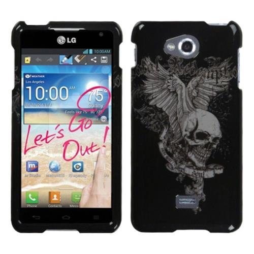 Insten Skull Wing Hard Plastic Cover Case For LG Spirit 4G - Black/Gray