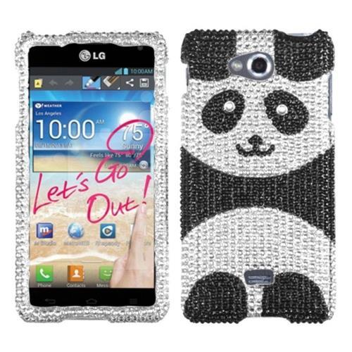 Insten Playful Panda Hard Bling Case For LG Spirit 4G - Black/Silver