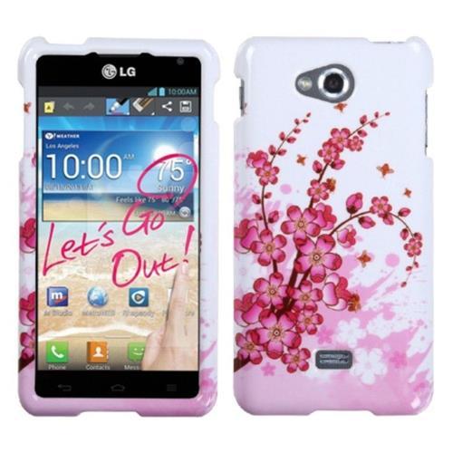 Insten Spring Flowers Hard Plastic Cover Case For LG Spirit 4G - White/Pink