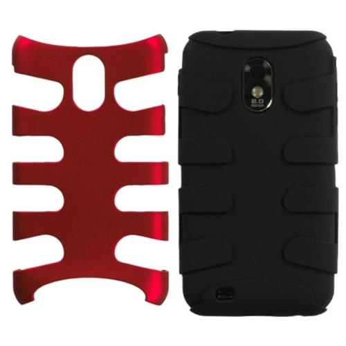 Insten Fishbone Hybrid Metallic Silicone Case For Samsung Galaxy S2 Epic 4G Touch D710, Red/Black