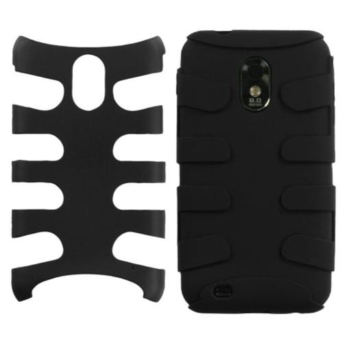 Insten Fishbone Hard Hybrid Rubber Silicone Case For Samsung Galaxy S2 Epic 4G Touch D710, Black