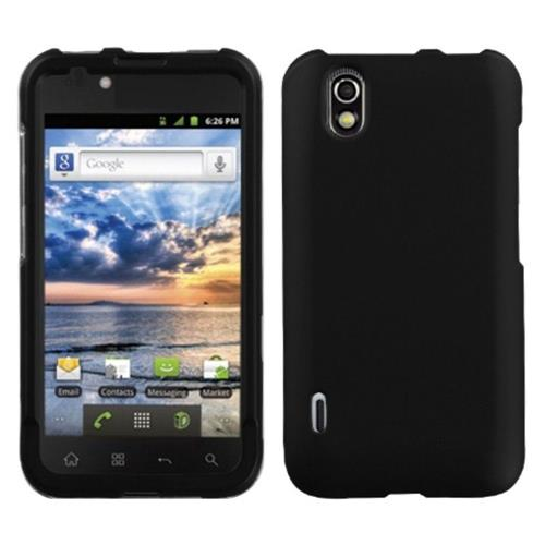 Insten Hard Rubber Coated Case For LG Marquee/Optimus Black - Black